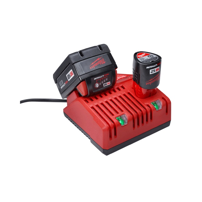 Milwaukee 48-59-1812 M18 & M12 Multi-Voltage Charger In Use 1