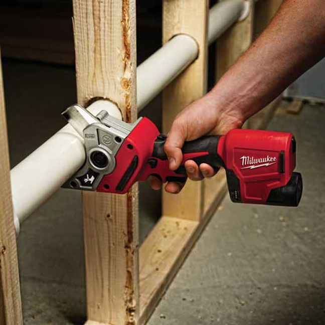 Milwaukee 2470-20 M12 PVC Shear In Use