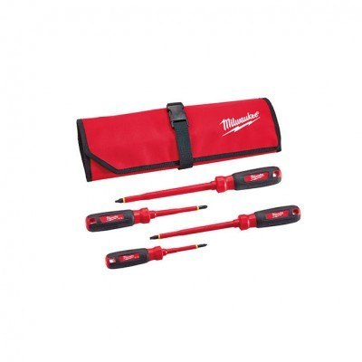 Milwaukee 48-22-2204 4PC 1000V Insulated Screwdriver Set w/Roll Pouch