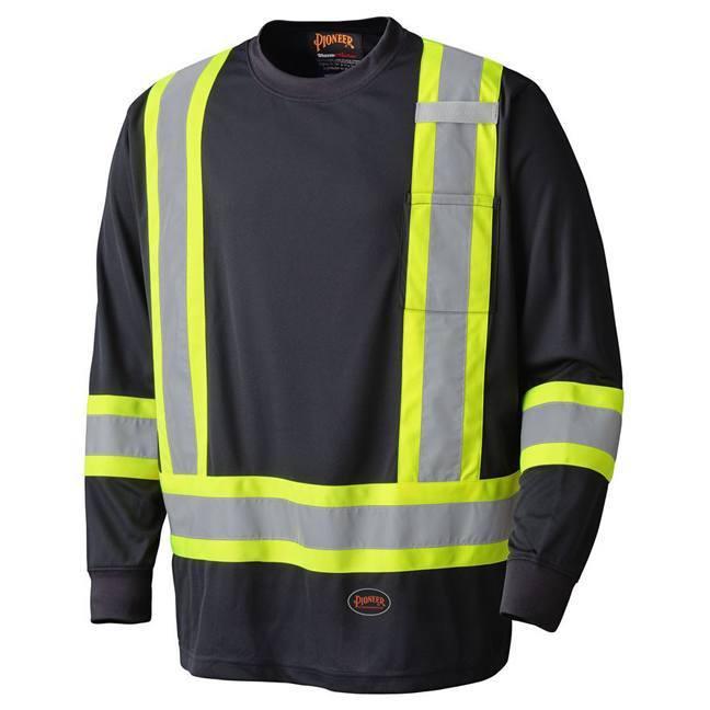 Pioneer 6997 Birdseye Black Safety Long-Sleeved Shirt