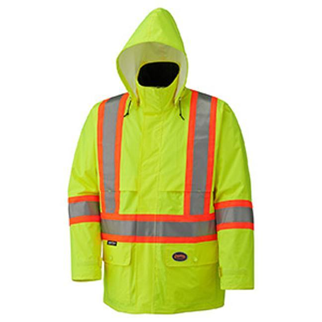 Pioneer 5596 Hi-Viz 150D Safety Jacket with Detachable Hood