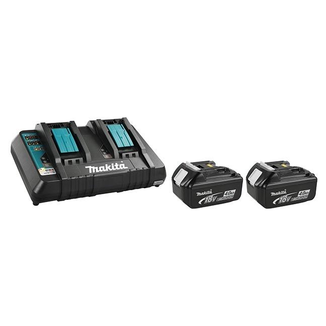 Makita Y-00315 2x4.0Ah Battery & 18V Dual Port Rapid Charger