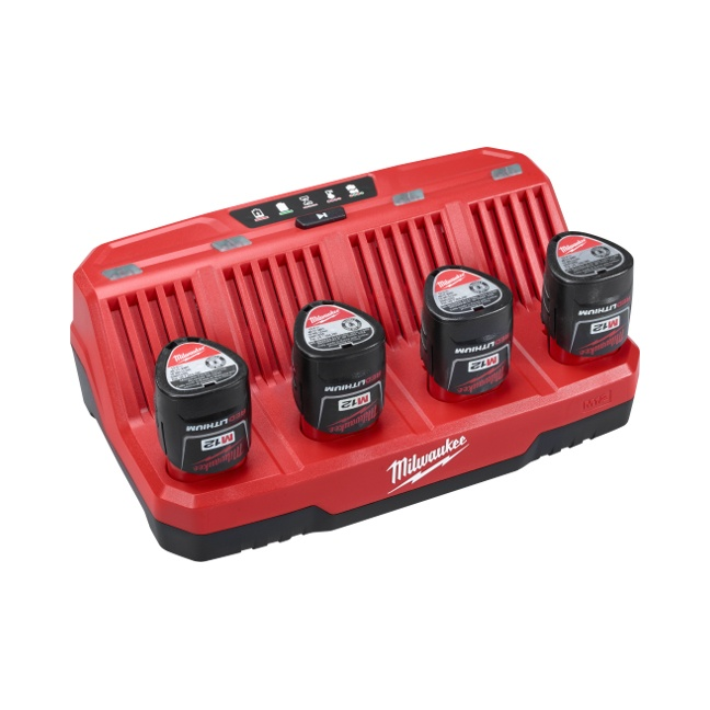 Milwaukee 48-59-1204 M12 Four Bay Sequential Charger104 In Use 1