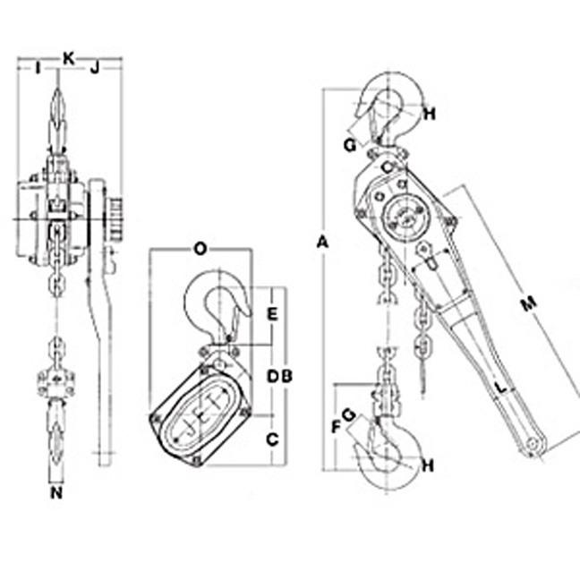Jet #10 Series Cast Lever Chain Hoist - Parts