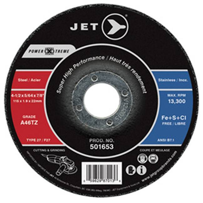 Jet 501653 4-1/2 x 5/64 x 7/8 A46PX-DUO T27 Cutting Grinding Wheel