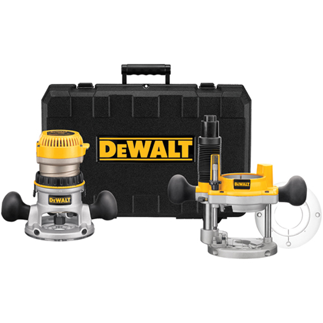 DeWalt DW618PK 2-1/4 HP EVS Fixed Base Plunge Router Combo Kit with Soft Start