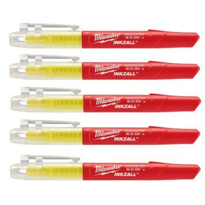 Milwaukee 48-22-3201 INKZALL Yellow Highlighters 5pk