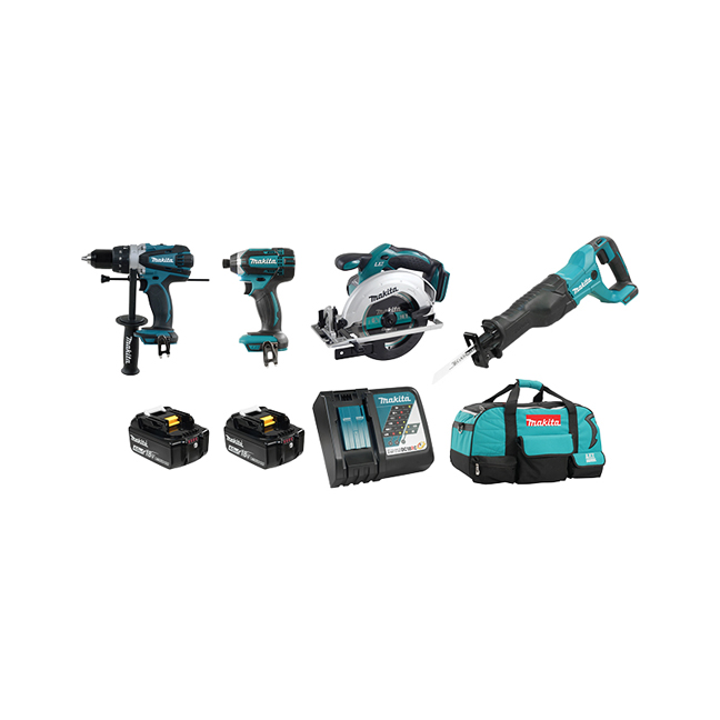Makita DLX4058M 18V 4-Piece Cordless Combo Kit