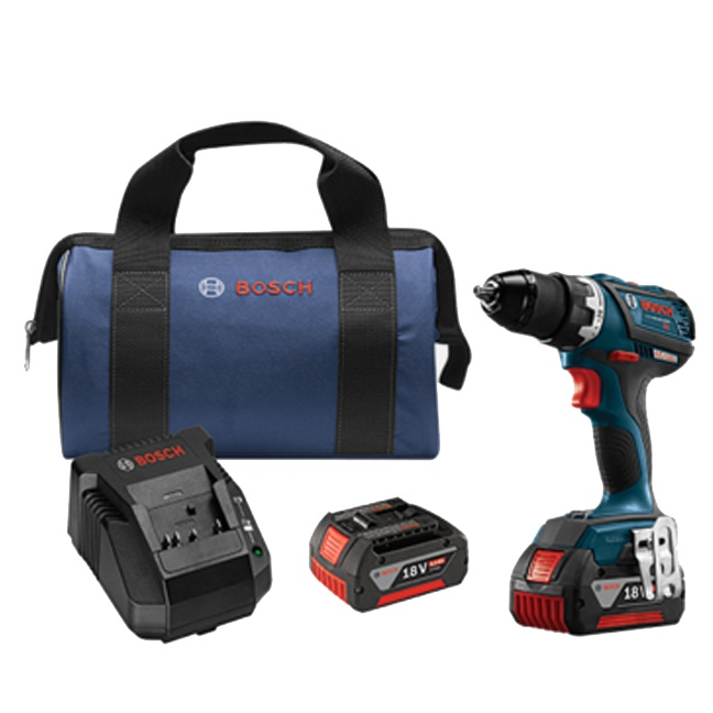 "Bosch DDS183-01 18V EC Brushless Compact Tough 1/2"" Drill Driver Kit"