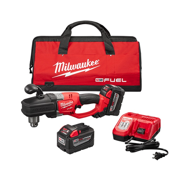 "Milwaukee 2707-22HD M18 FUEL HOLE HAWG 1/2"" Right Angle Drill High Demand Kit"