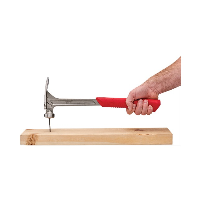 Milwaukee 48-22-9016 17oz Milled Face Framing Hammer In Use 2