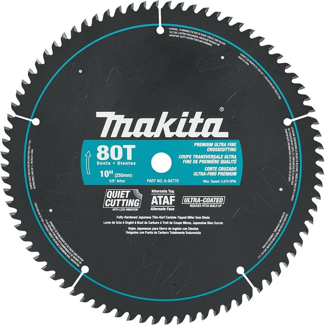 "Makita A-94770 10"" 80T Ultra-Coated Mitre Saw Blade"