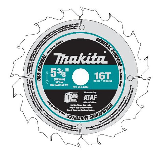 "Makita A-94904 5-3/8"" 16T Tungsten Carbide Tipped Saw Blade"