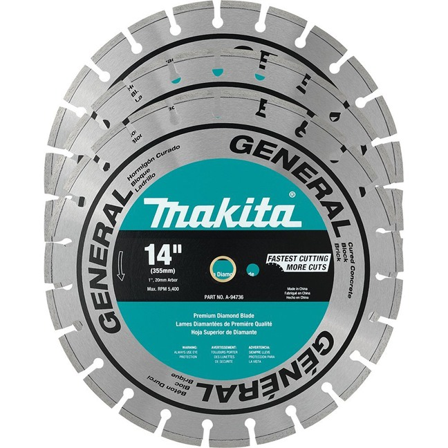 "Makita A-94932 14"" Contractor Diamond Blades 3-Pack"