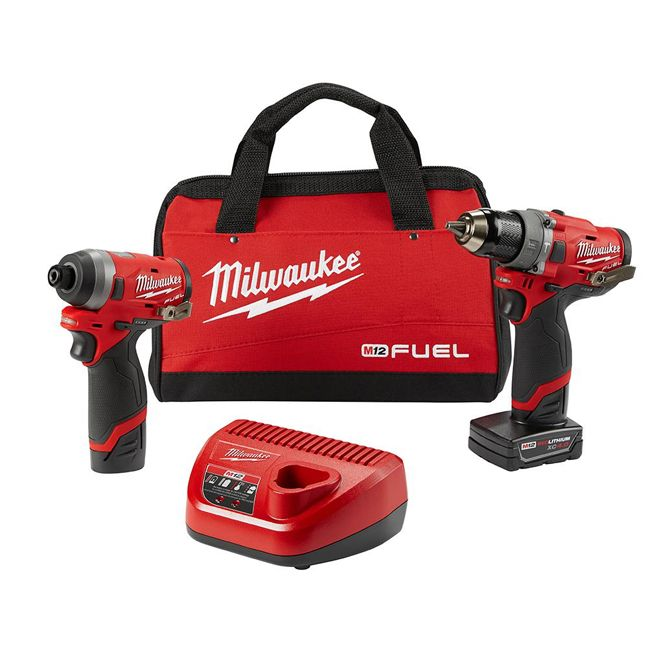 Milwaukee 2598-22 M12 FUEL Hammer Drill and Impact Driver Combo Kit